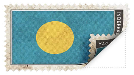 ajar: palau flag on stamp independence day be ajar Stock Photo