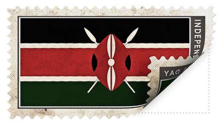 ajar: Kenya flag on stamp independence day be ajar Stock Photo