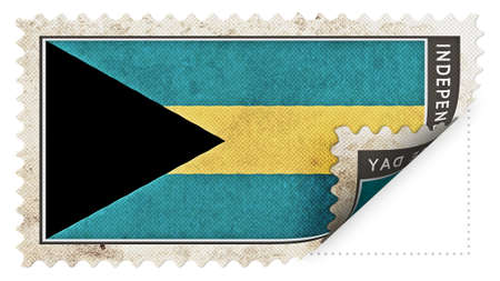 ajar: bahamas flag on stamp independence day be ajar Stock Photo