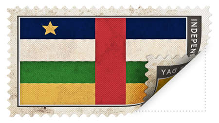 ajar: central african republic flag on stamp independence day be ajar