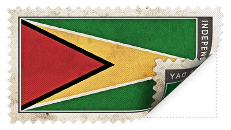 ajar: guyana flag on stamp independence day be ajar