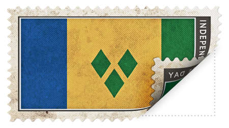 ajar: st vincent & the grenadines flag on stamp independence day be ajar Stock Photo