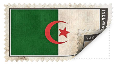 ajar: algeria flag on stamp independence day be ajar Stock Photo