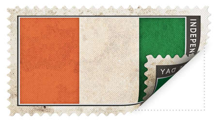 ajar: cote divoire flag on stamp independence day be ajar