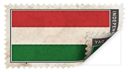 ajar:  hungary flag on stamp independence day be ajar