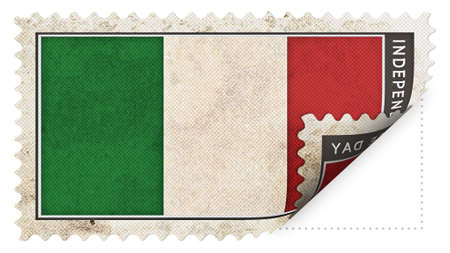 ajar: Italy flag on stamp independence day be ajar