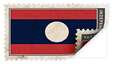 ajar: laos flag on stamp independence day be ajar