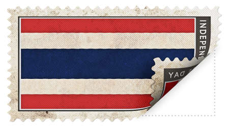 ajar: thailand flag on stamp independence day be ajar Stock Photo