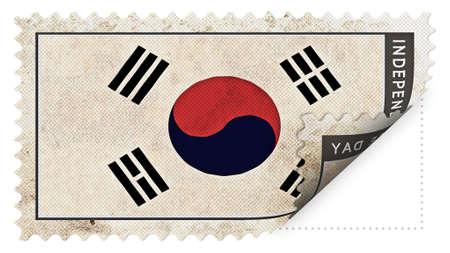 ajar: Korea South flag on stamp independence day be ajar