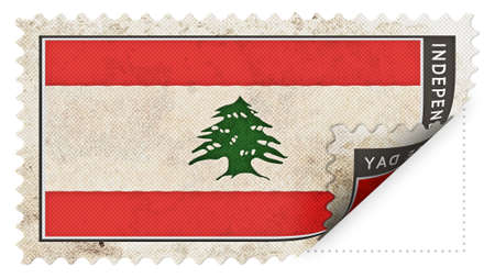 ajar: Lebanon flag on stamp independence day be ajar