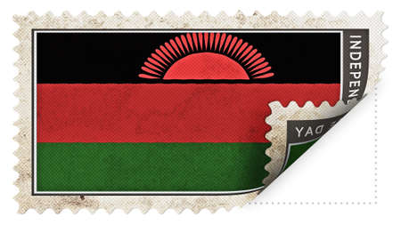 ajar: Malawi flag on stamp independence day be ajar Stock Photo