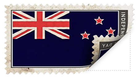 ajar: New Zealand flag on stamp independence day be ajar