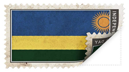 ajar: Rwanda flag on stamp independence day be ajar Stock Photo