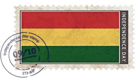 bandera de bolivia: bandera de Bolivia en el d�a de la independencia sello con bomba fecha Foto de archivo