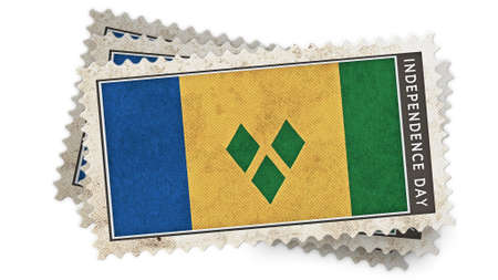 grenadines: st vincent & the grenadines flag on stamp independence day is overlay