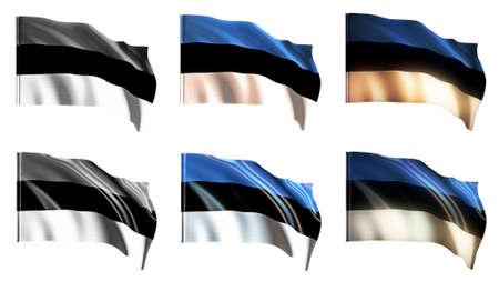 estonia flags waving set front view photo