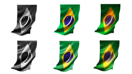 defeated: brazil flags waving set 6 in 1 vertical styles Stock Photo