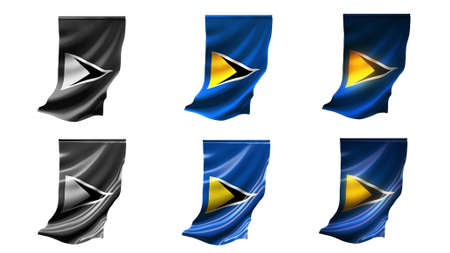defeated: st lucia flags waving set 6 in 1 vertical styles