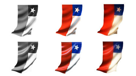 defeated: chile flags waving set 6 in 1 vertical styles
