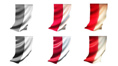 defeated: poland  flags waving set 6 in 1 vertical styles