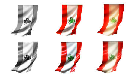 defeated: Lebanon  flags waving set 6 in 1 vertical styles