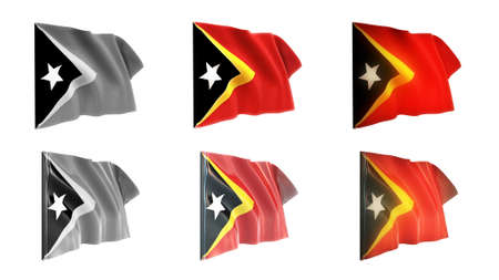 defeated: east timor  flags waving set 6 in 1 athwart styles