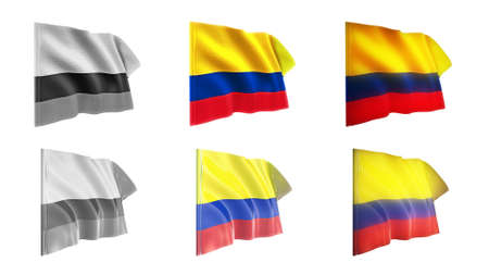 defeated:  colombia flags waving set 6 in 1 athwart styles Stock Photo