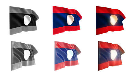 defeated: laos  flags waving set 6 in 1 athwart styles Stock Photo