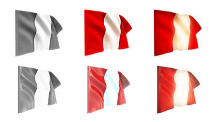 defeated:  peru flags waving set 6 in 1 athwart styles Stock Photo