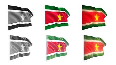 suriname  flags waving set 6 in 1 athwart styles photo
