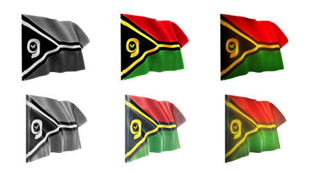 defeated:  Vanuatu flags waving set 6 in 1 athwart styles Stock Photo