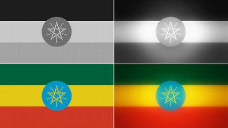 ethiopia flag: ethiopia flag backgrounds styles set  Stock Photo