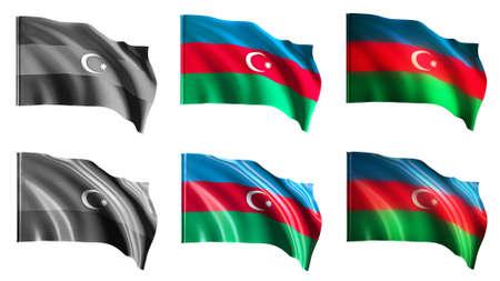 azerbaijan flags waving set front view photo