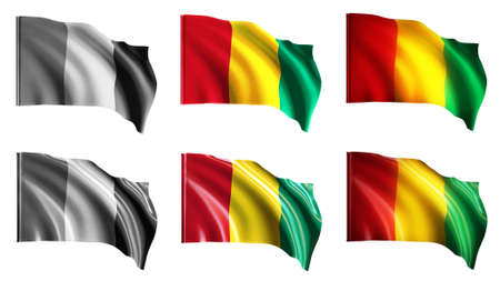 guinea  flags waving set front view photo