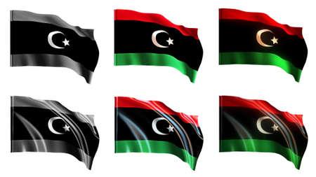 libya flags waving set front view photo