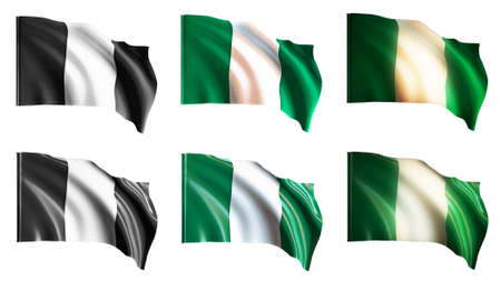 defeated: nigeria flags waving set front view