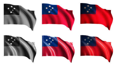 defeated: samoa flags waving set front view Stock Photo