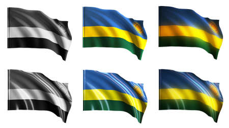 defeated: Rwanda flags waving set front view