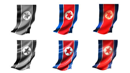 defeated: korea north flags waving set 6 in 1 vertical styles