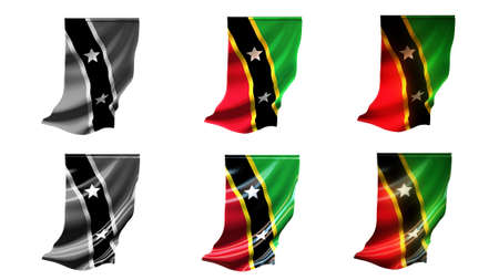 defeated: st kitts & nevis flags waving set 6 in 1 vertical styles