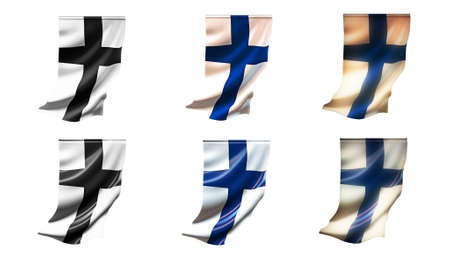 defeated: finland  flags waving set 6 in 1 vertical styles