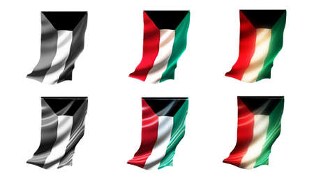 defeated: kuwait flags waving set 6 in 1 vertical styles