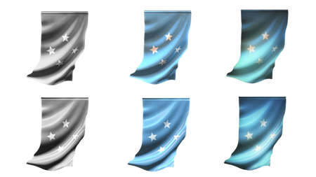 defeated: micronesia  flags waving set 6 in 1 vertical styles