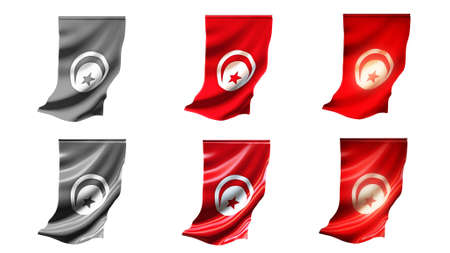 defeated: tunisia  flags waving set 6 in 1 vertical styles Stock Photo