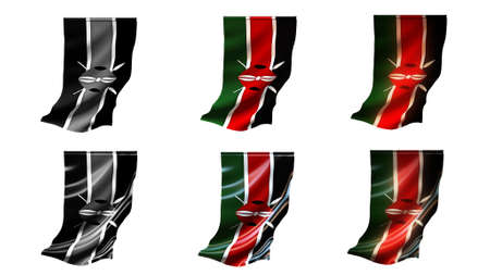defeated: Kenya  flags waving set 6 in 1 vertical styles
