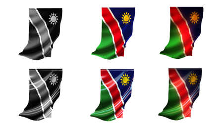defeated:  Namibia flags waving set 6 in 1 vertical styles
