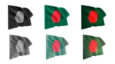 bangladesh  flags waving set 6 in 1 athwart styles photo