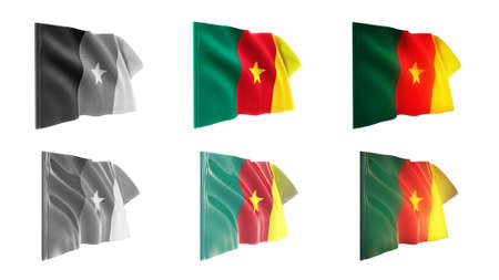 defeated: cameroon  flags waving set 6 in 1 athwart styles Stock Photo