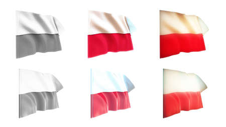 defeated: poland  flags waving set 6 in 1 athwart styles