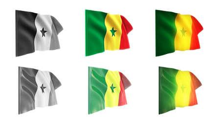 senegal  flags waving set 6 in 1 athwart styles photo